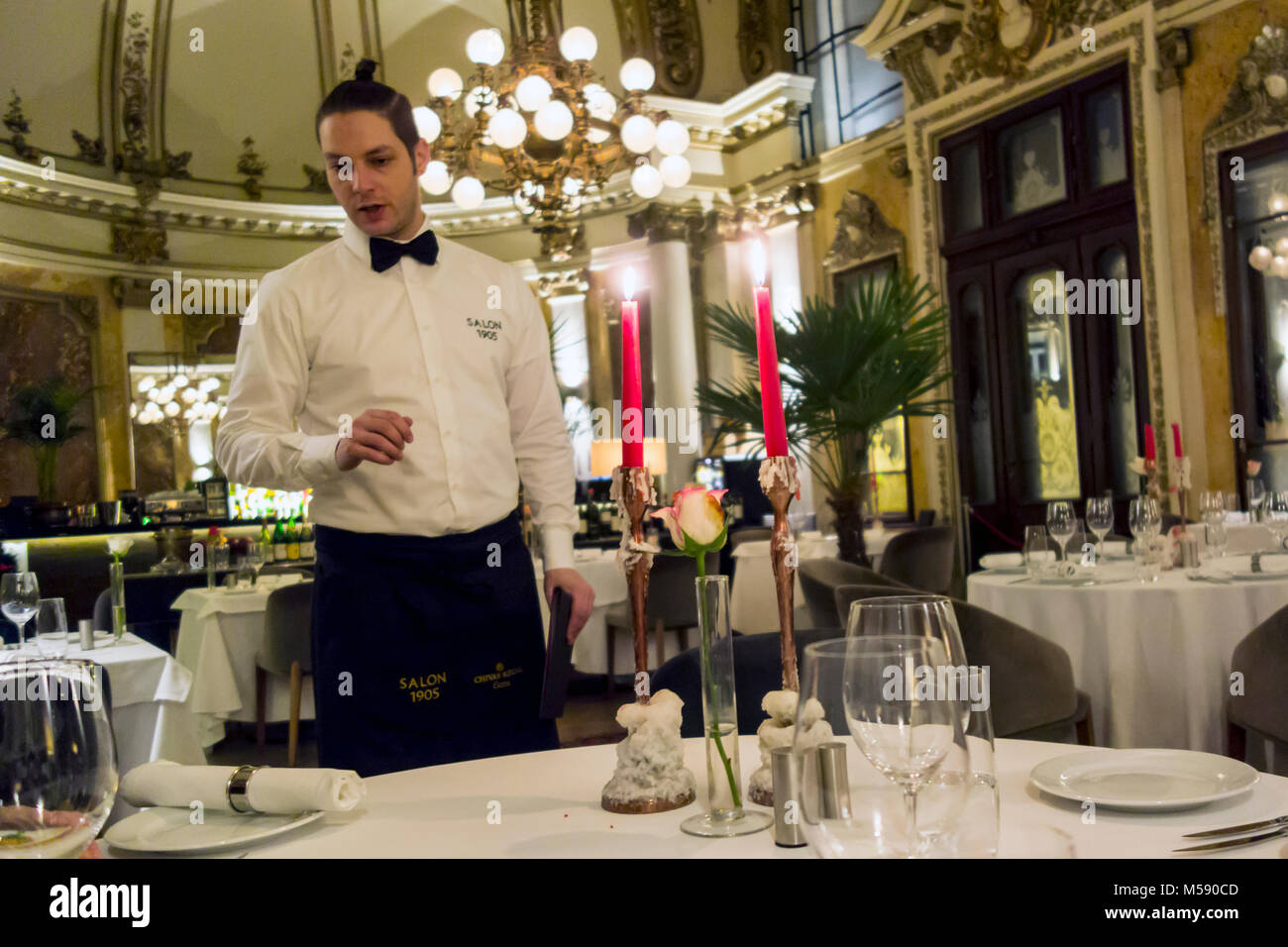 Interior of  the Salon 1905, a gourmet restaurant in Belgrade Serbia Stock Photo