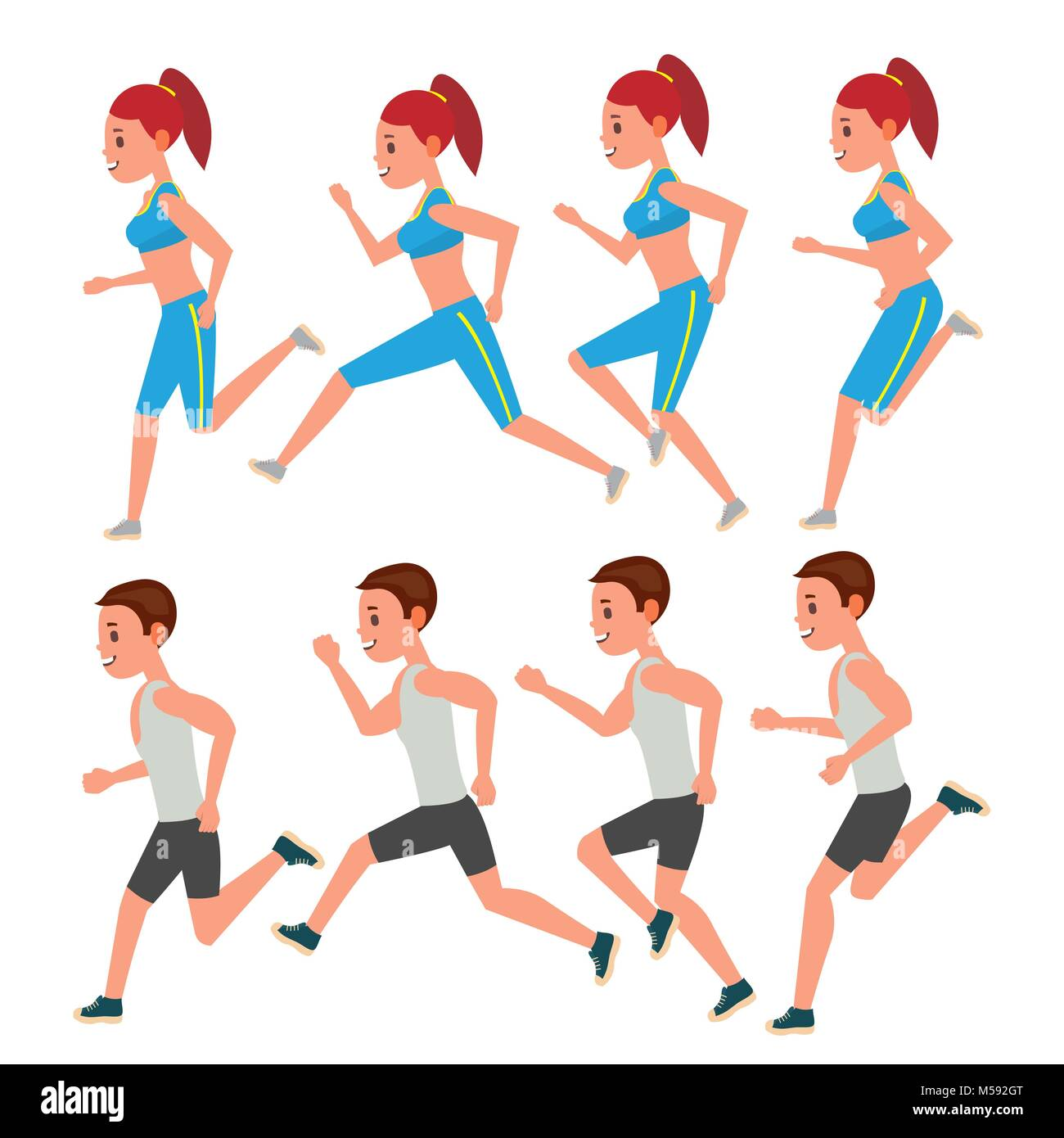 Male And Female Running Vector. Animation Frames Set. Sport Athlete ...
