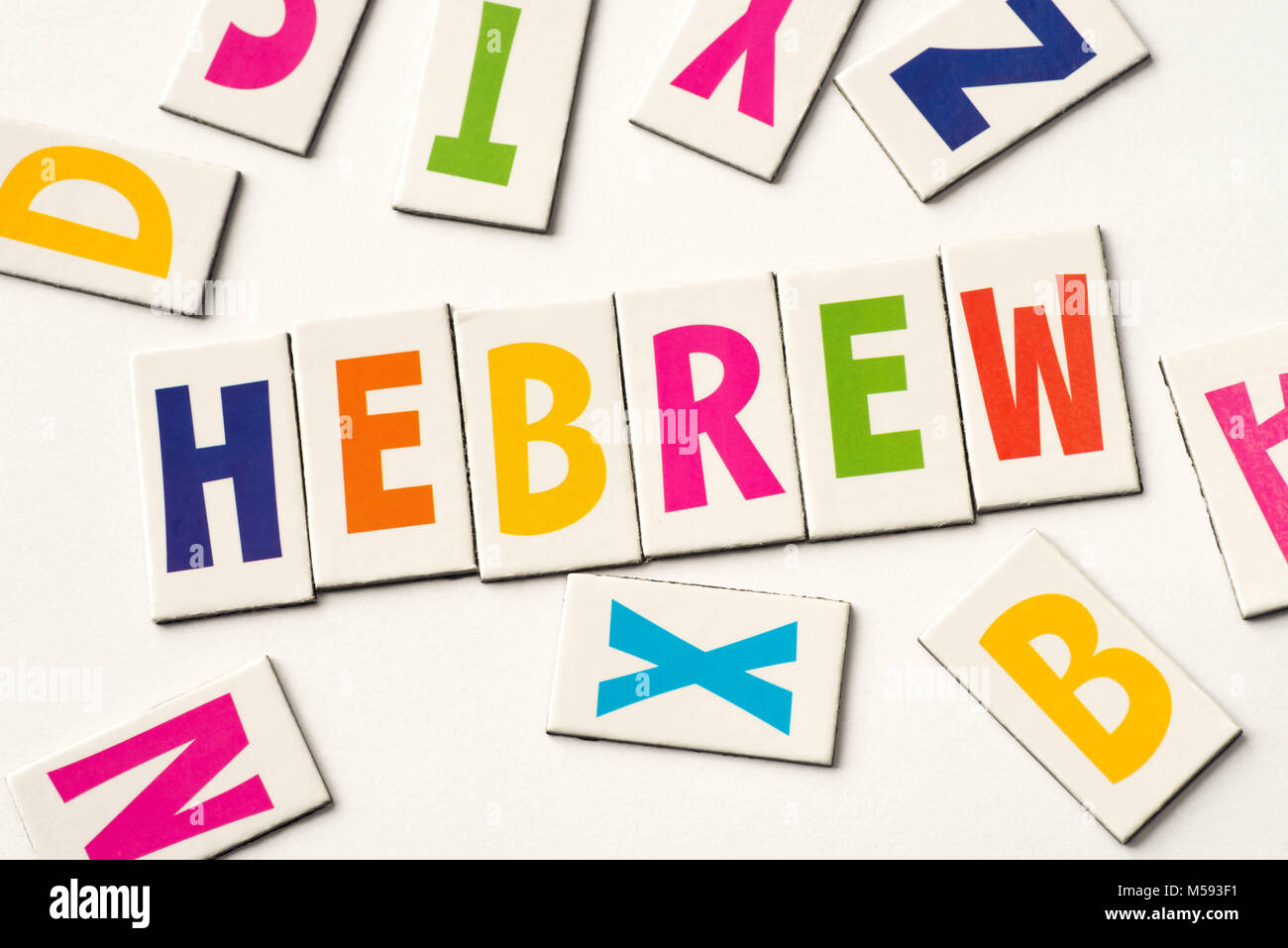 word hebrew made of colorful letters on white background - Stock Image