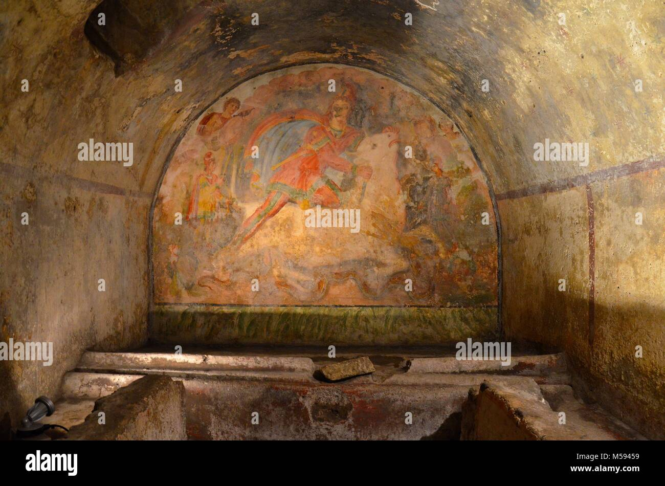 Santa Maria Capua Vetere, a town Close to Naples and Caserta (Campania, Italy): inside the zoroastrian Temple of - Stock Image