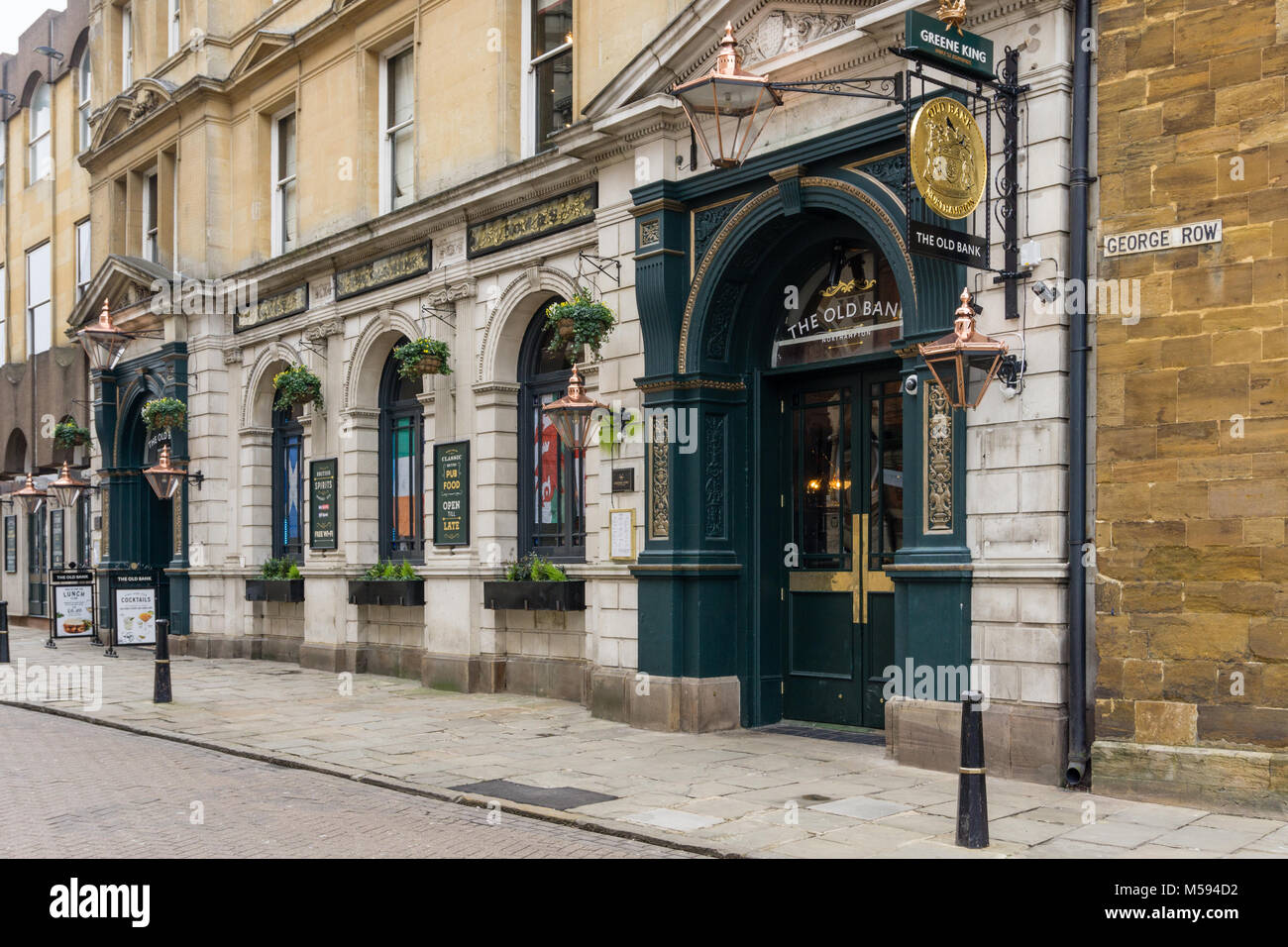 The Old Bank Pub, Northampton, UK, part of the Greene King chain; formerly occupied by Barclays Bank from which - Stock Image
