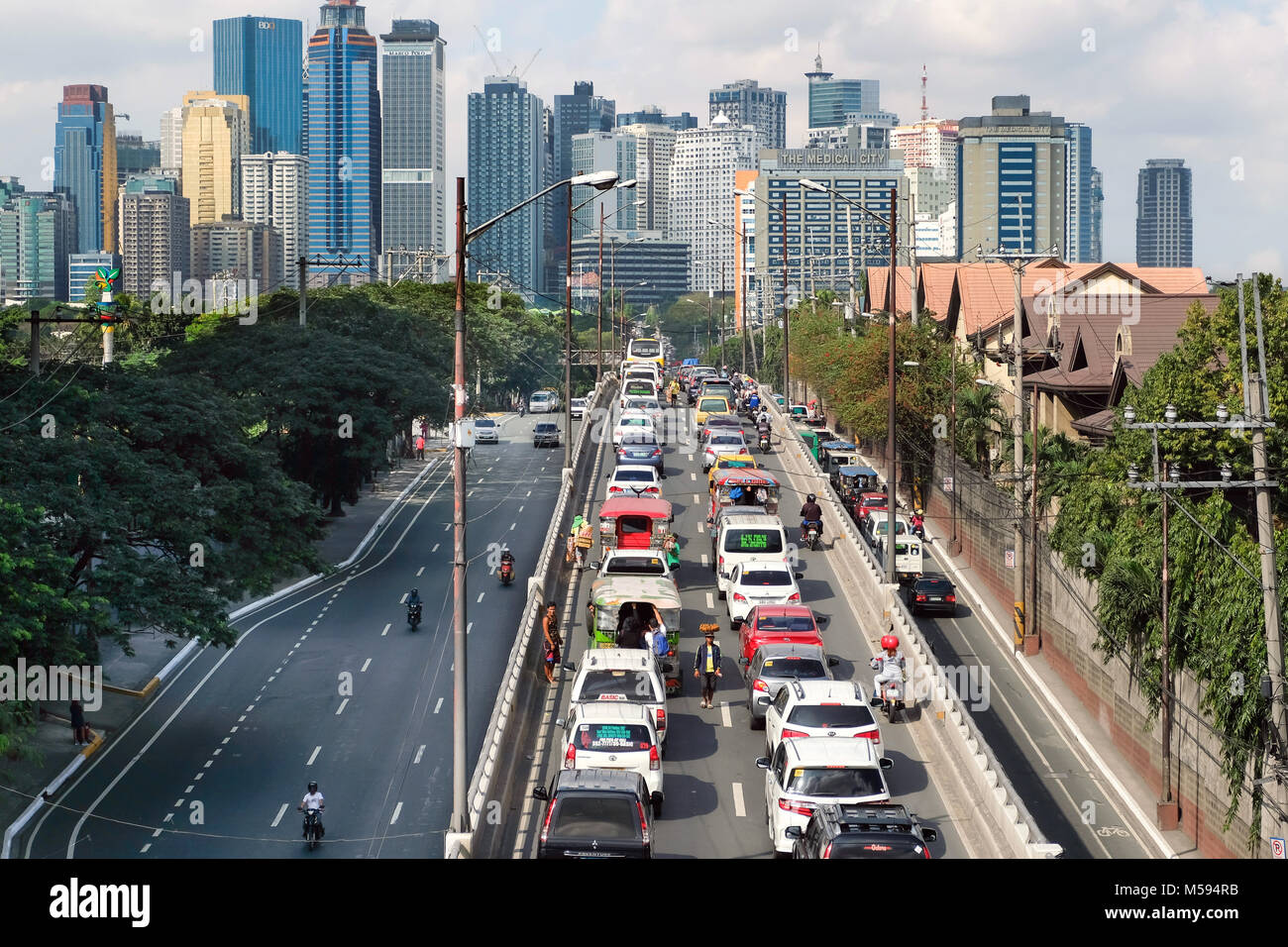 Metro Manila, in the background the skyscrapers of Pasay City, Philippines, Asia - Stock Image
