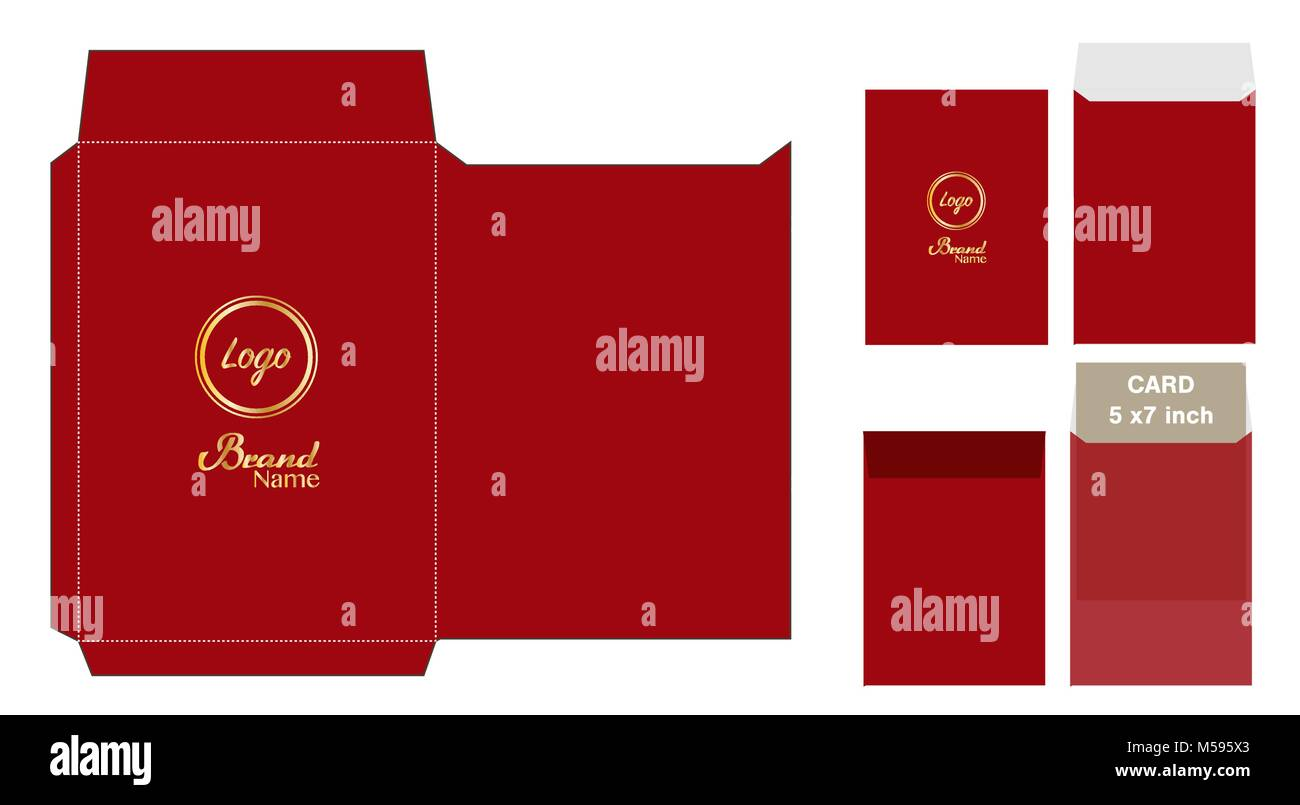 red envelope die cut mock up template vector stock vector art