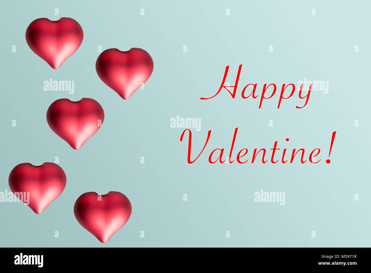 Valentine Hearts On A Plain Pastel Background As Greeting Card And