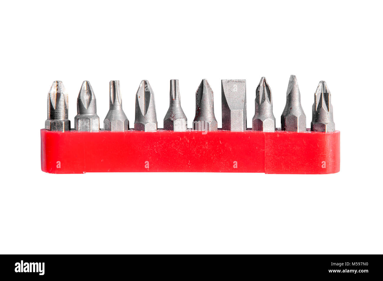 Chrome industrial screwdriver set with various bits and bit extension and replaceable head - Stock Image