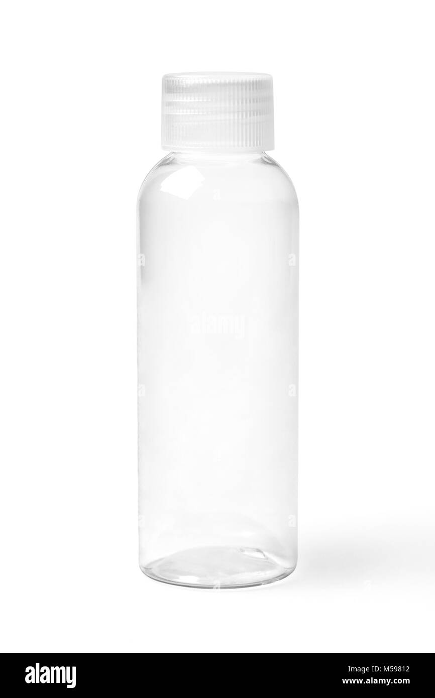 Closed empty colorless transparent plastic bottle for cosmetic products. - Stock Image