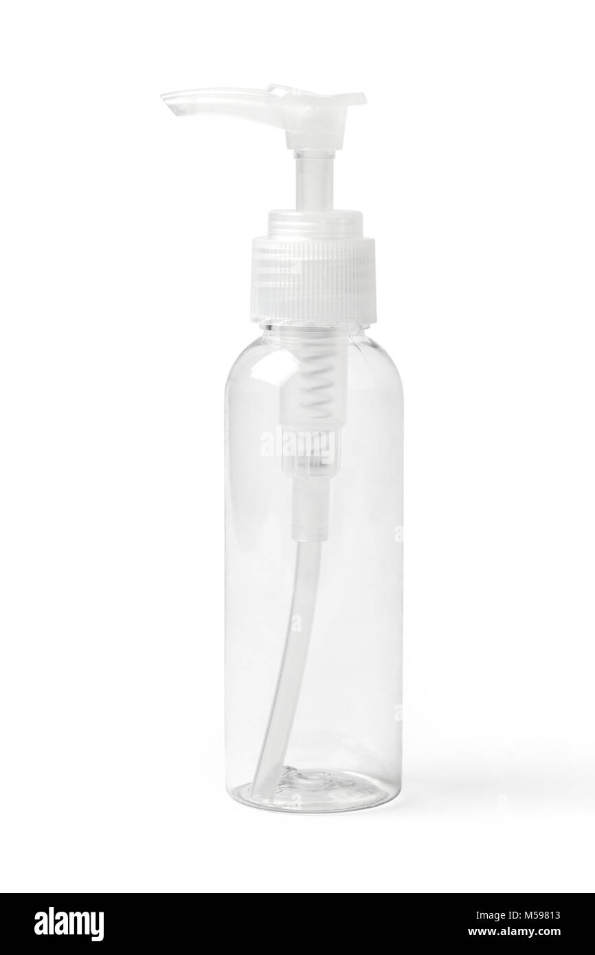 Empty colorless transparent plastic bottle with spray pump for cosmetic products. Image with working path. - Stock Image