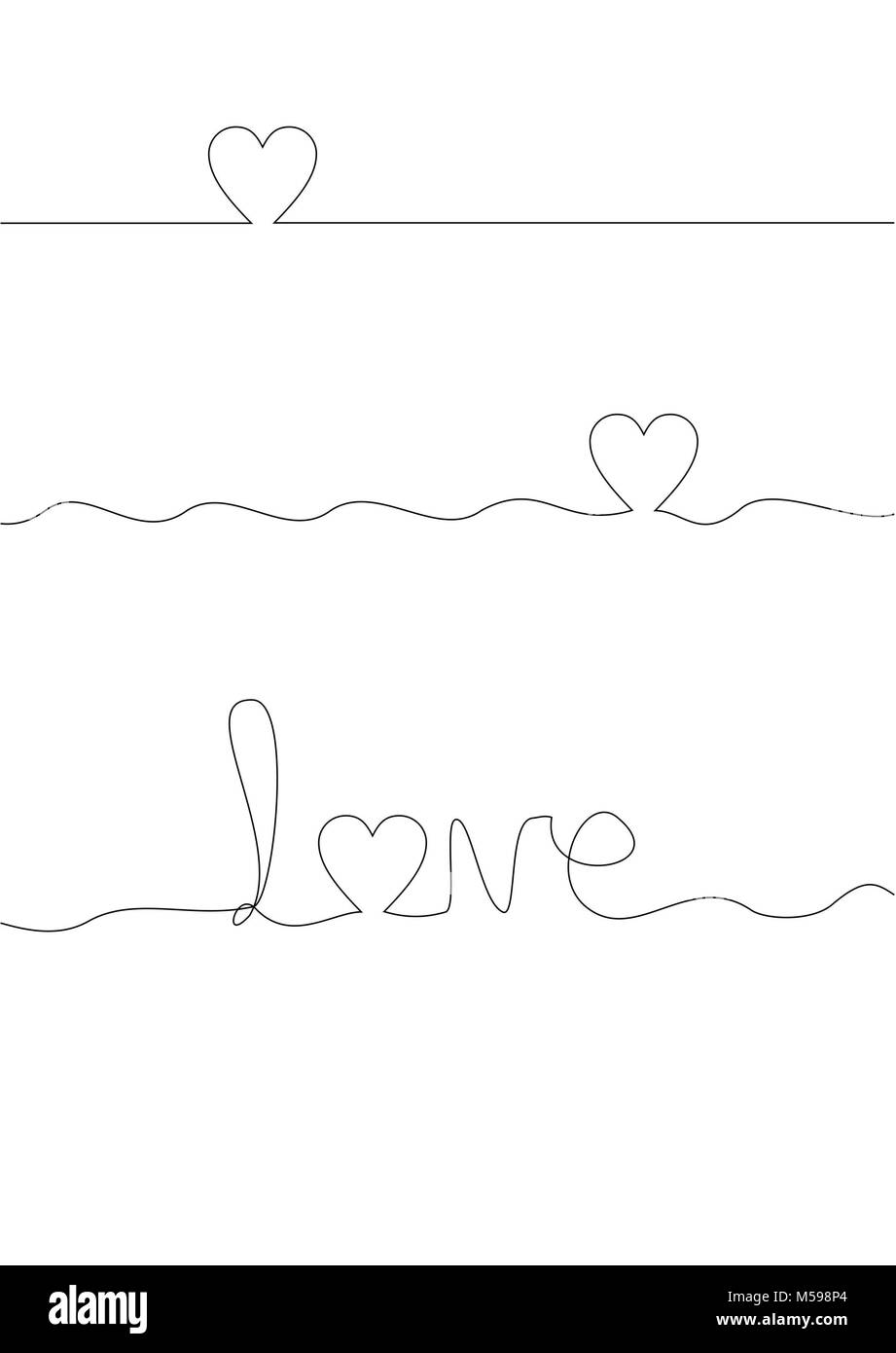 Continuous line drawing of hearts and love wording - Stock Image