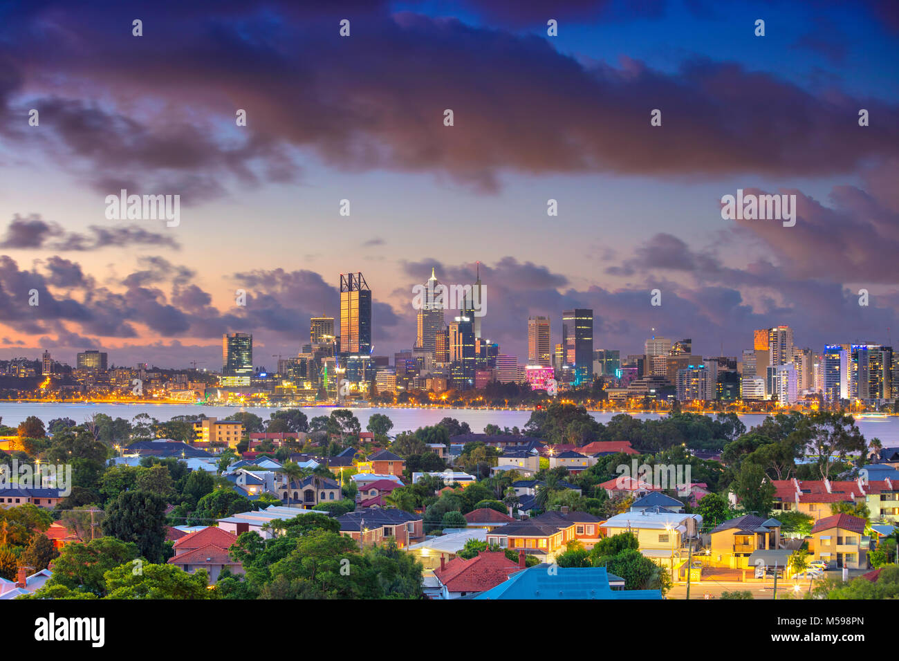 Perth. Aerial cityscape image of Perth skyline, Australia during dramatic sunset. - Stock Image