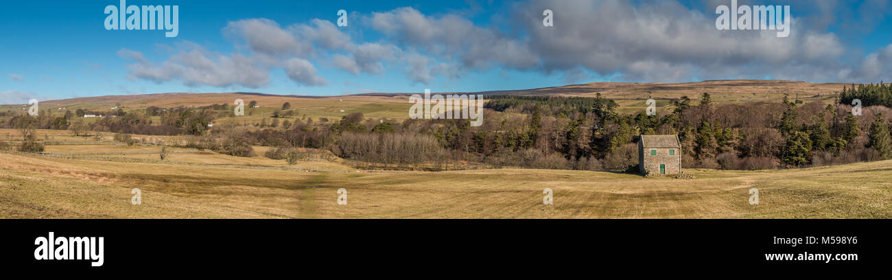 North Pennines panoramic landscape, panorama from Ettersgill to Bowlees, Teesdale, UK on a fine winter morning - Stock Image