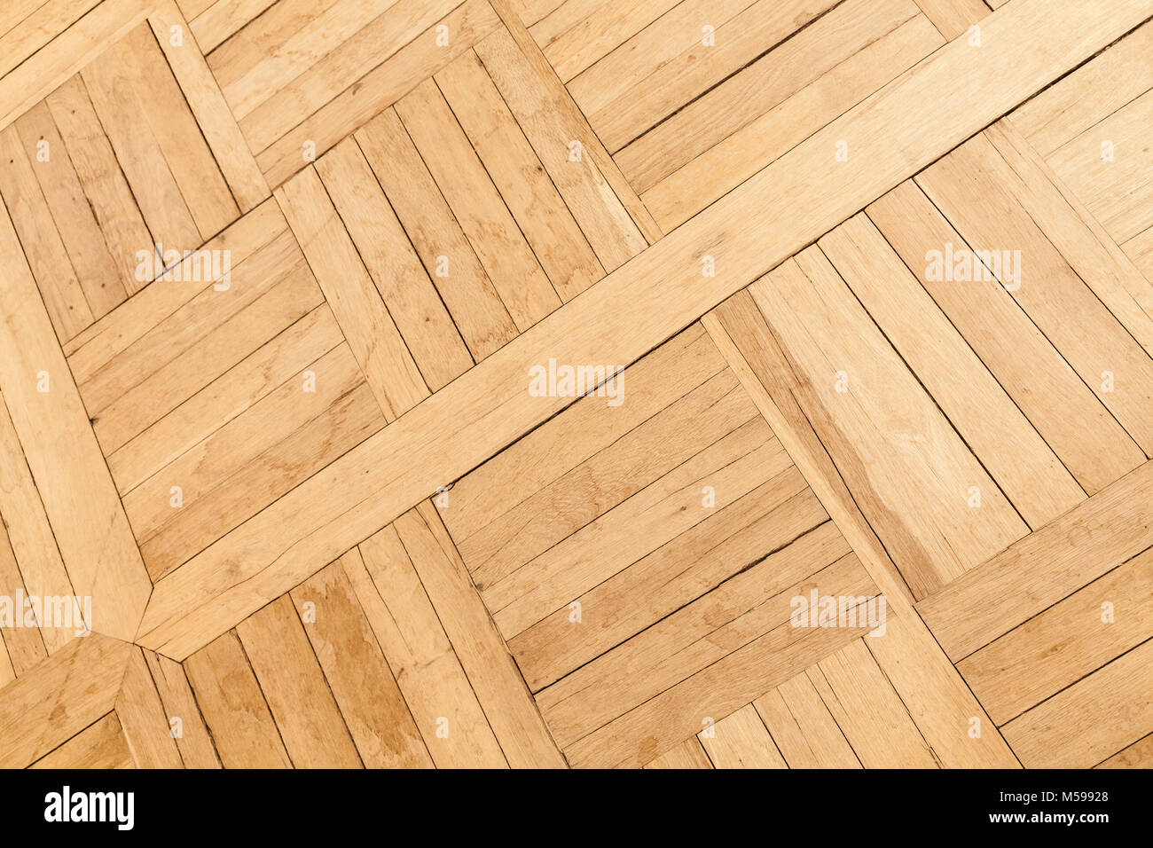 Parquet Made Of Oak Wood Planks With Square Geometric Pattern Stock