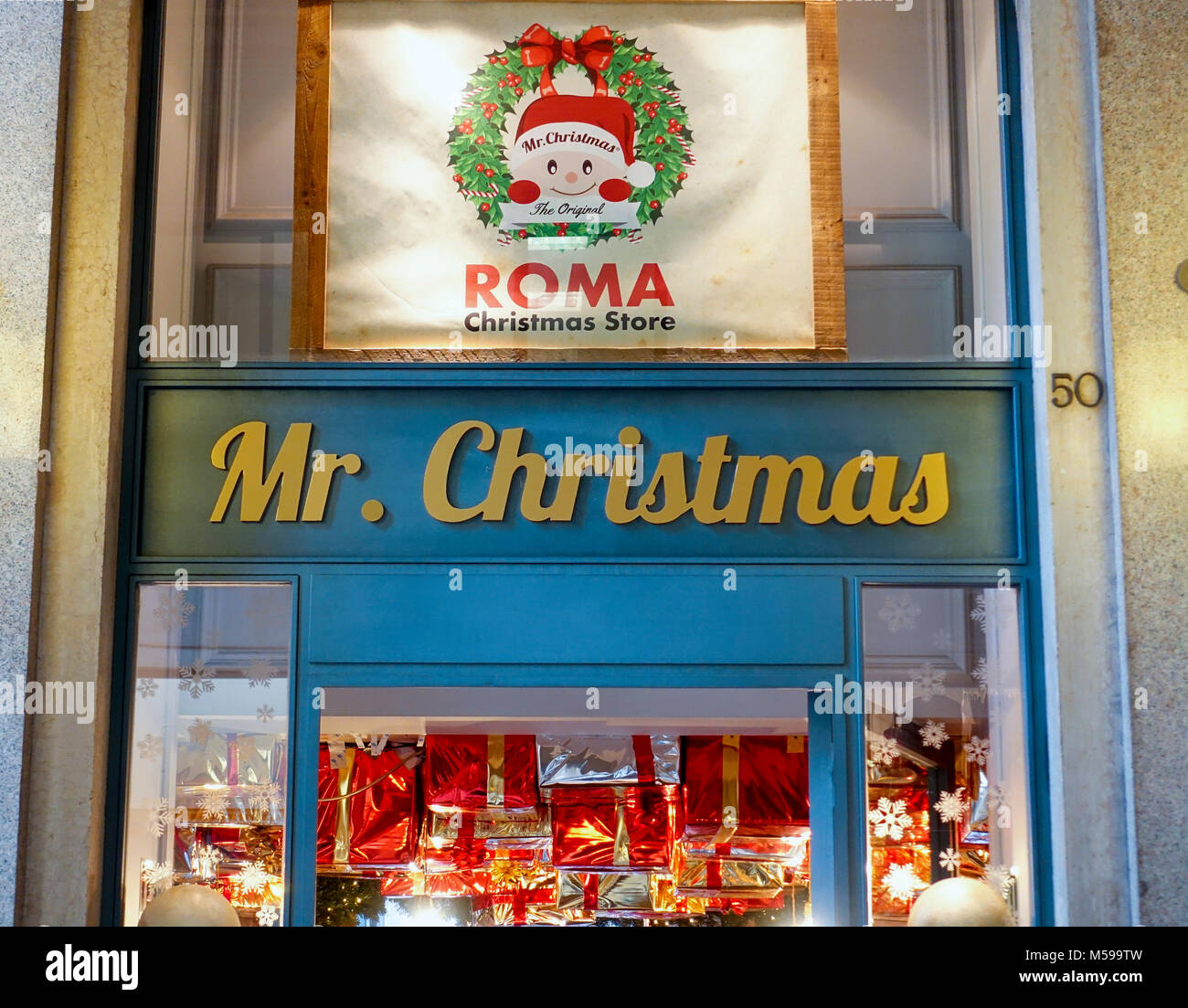 Mr Christmas an all year round Christmas outlet in Rome Italy - Stock Image