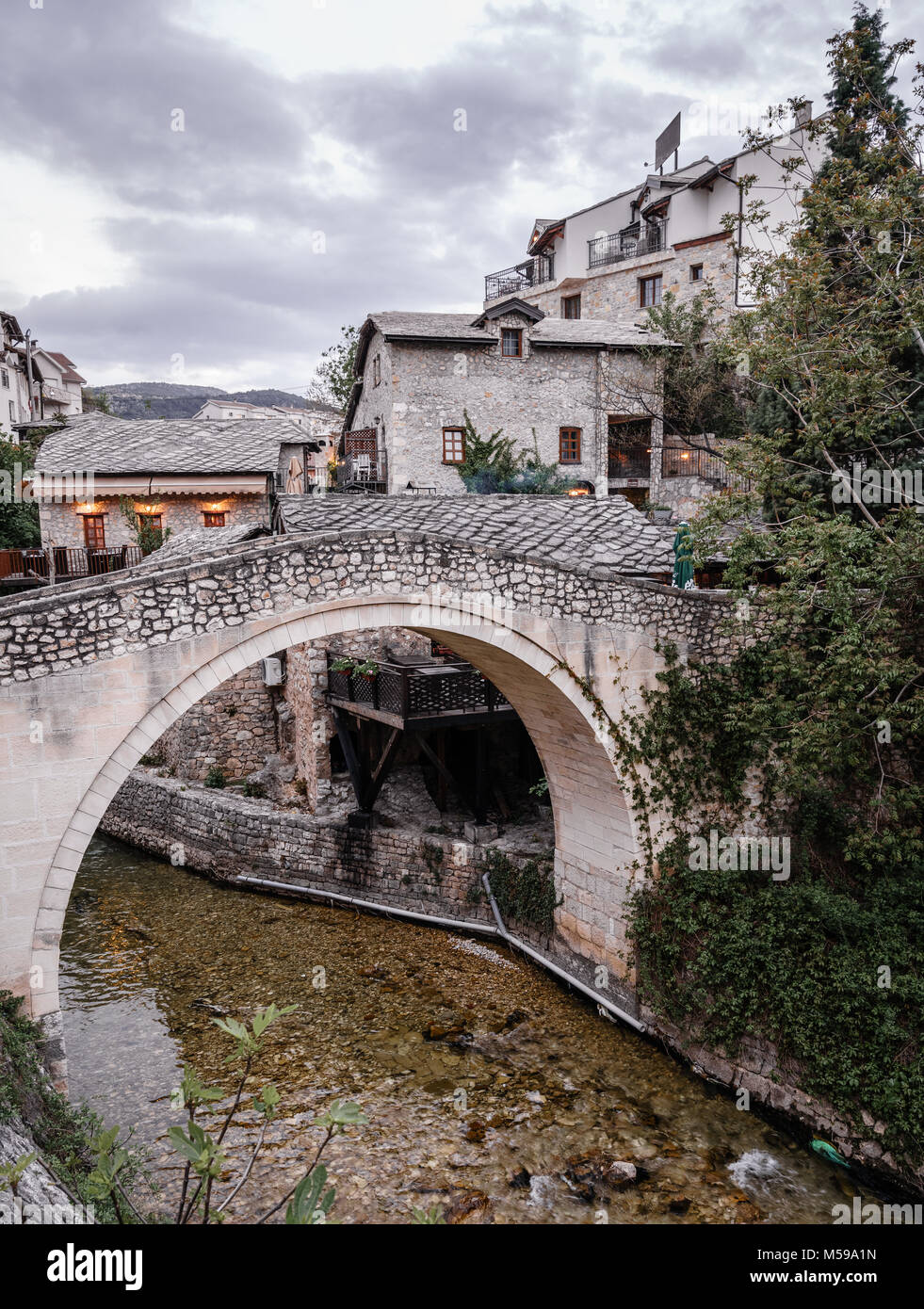 A foot bridge in the old part of Mostar in Bosnia-Herzegovina - Stock Image