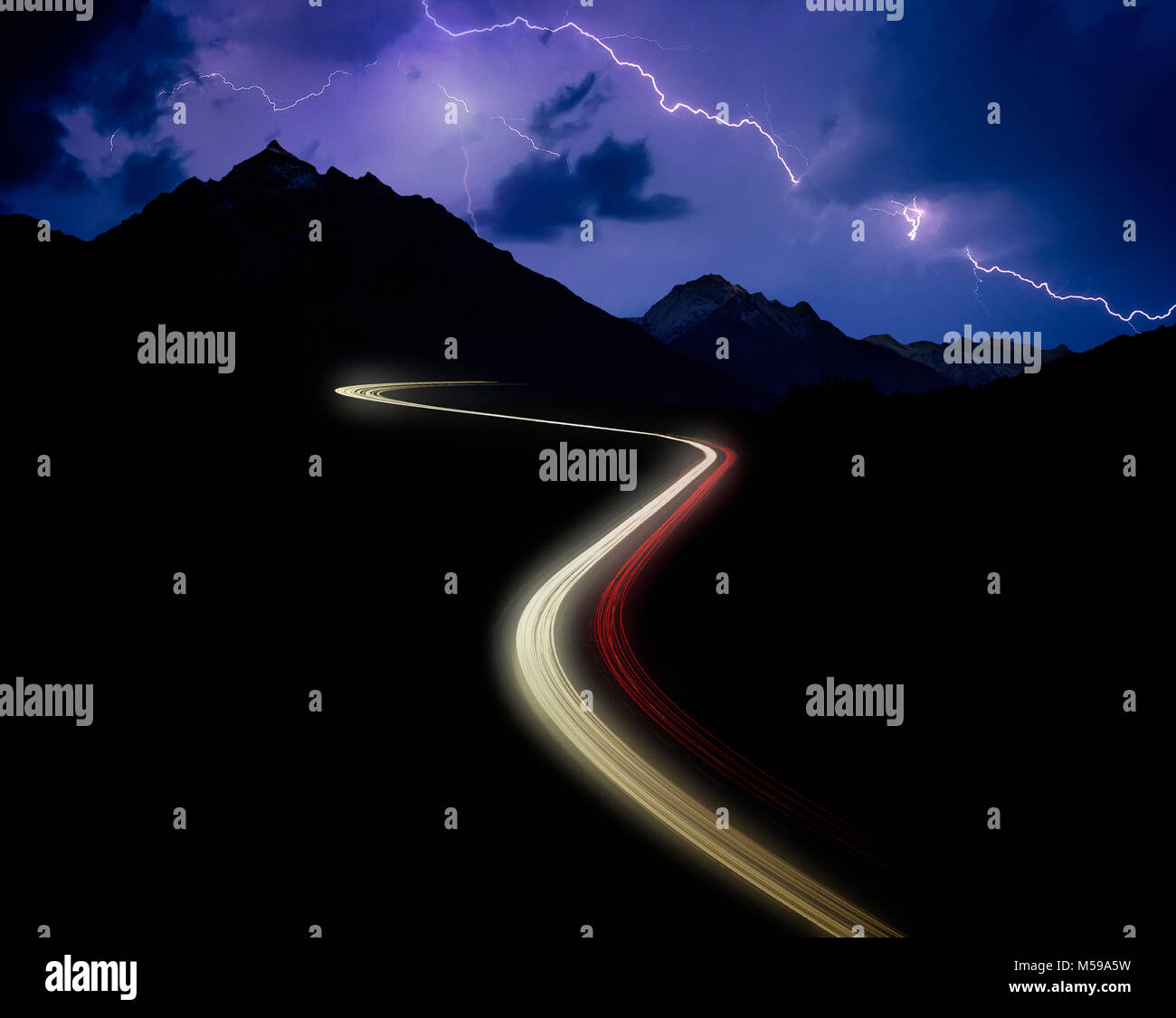 AT - TYROL: Brenner Pass Autobahn by night Stock Photo