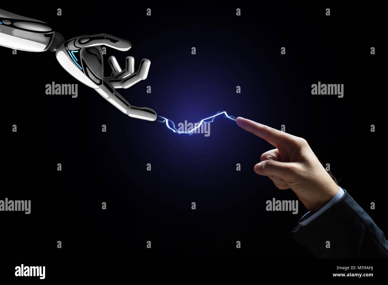 robot and human hand connected by lightning - Stock Image