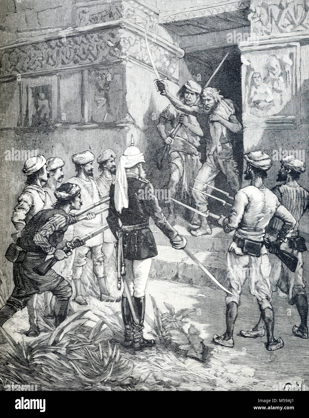 Human Sacrifice in Colonial India. British Colonial Officials Arrest a Hindu Fanatic After a Human Sacrifice in Stock Photo