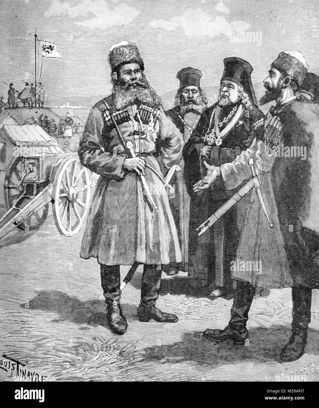 Nilolay Ivanovitch Achinov (b.1856) a Russian Adventurer and Cossack, during his 1888 expedition to French Somaliland - Stock Image