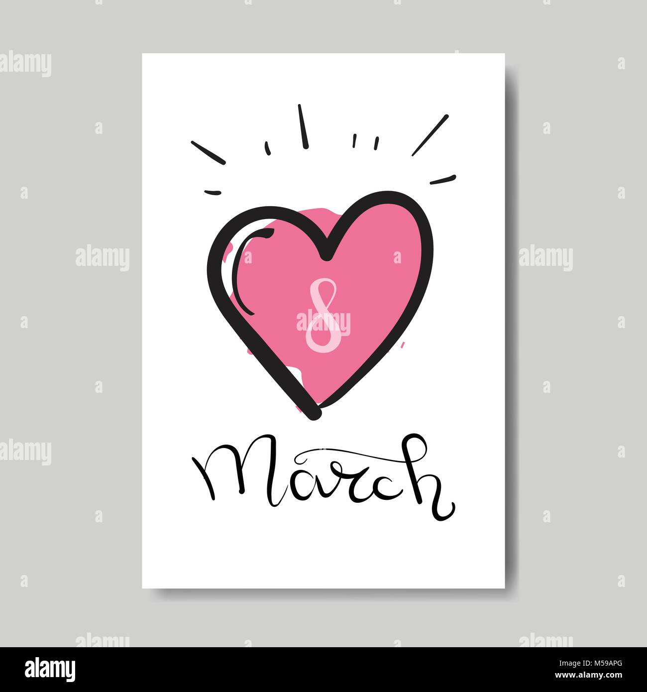 Happy 8 March Cute Greeting Card Hand Drawn Heart Retro Postcard