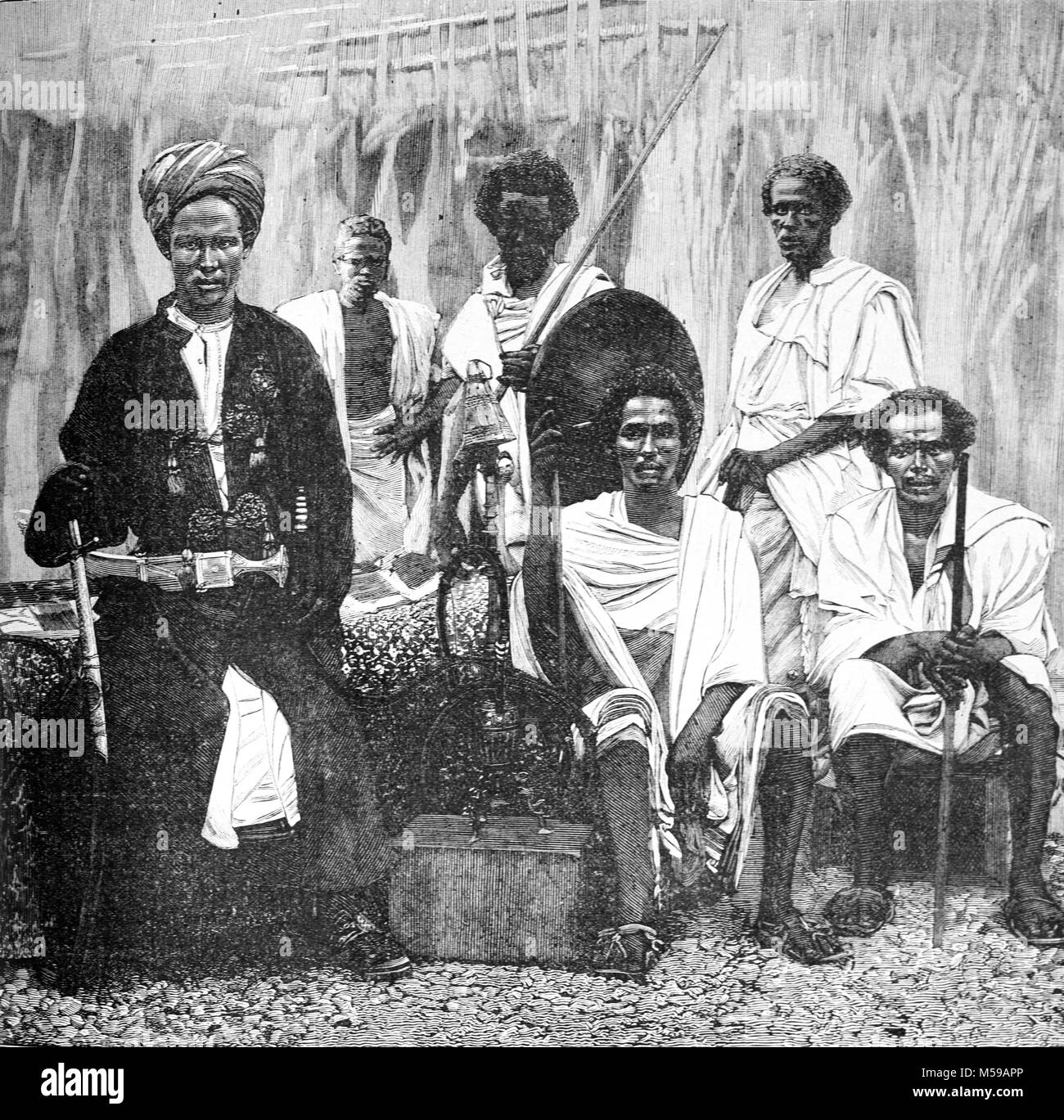 Sultan of Tadjoura, Mohammed Loitah, of French Somaliland or Djibouti, and Elders of the Afar Tribe. The Sultan - Stock Image
