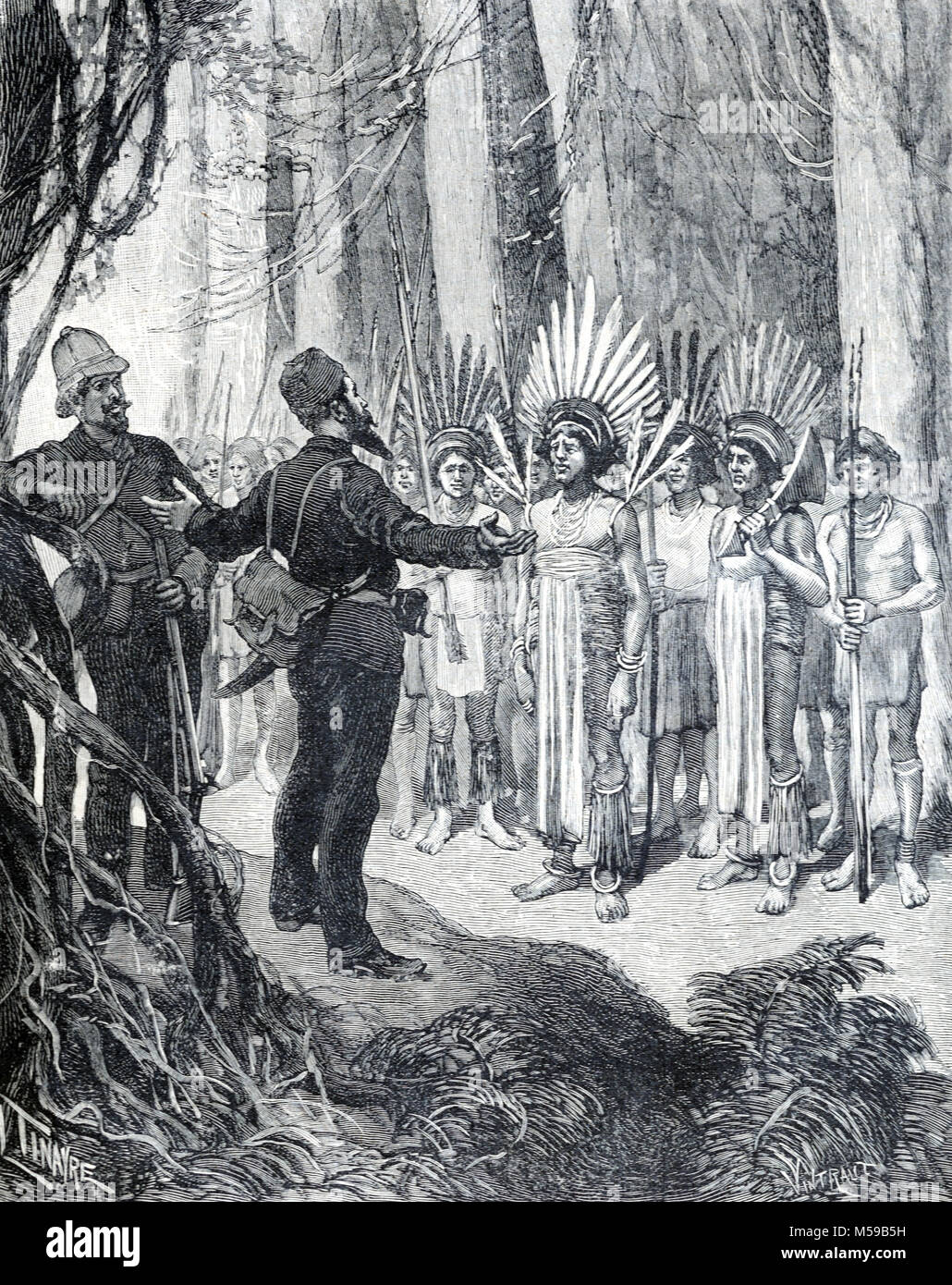 Henri Anatole Coudreau (1859-1899) French Geographer and explorer of French Guiana and the Amazon Basin Meets Chiefs - Stock Image