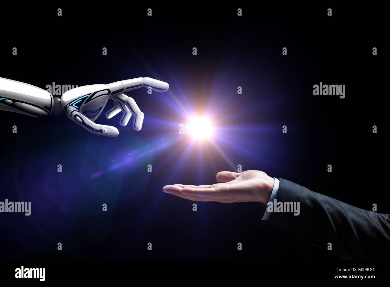 robot and human hand flash light over black - Stock Image