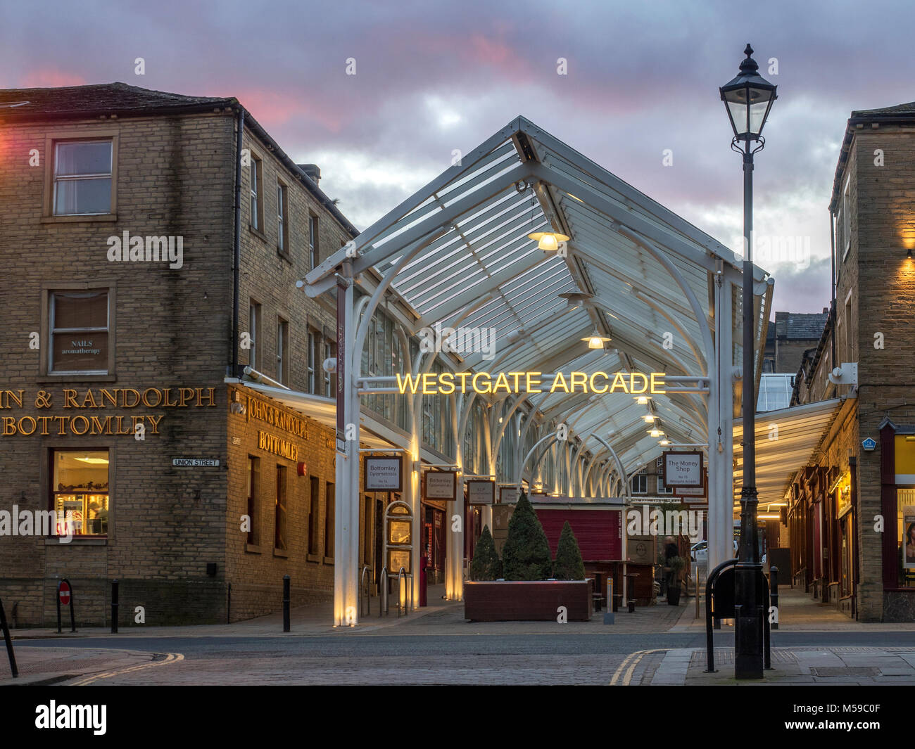 westgate arcade at dusk in halifax west yorkshire england stock