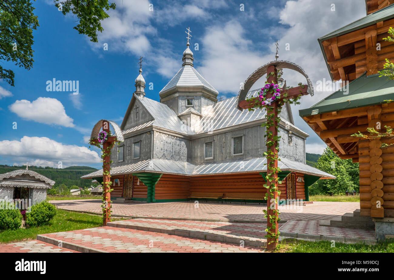 Greek Catholic Church, sheet metal plating, in village of Sheshory near town of Kosiv, Carpathian Mountains, Hutsul - Stock Image