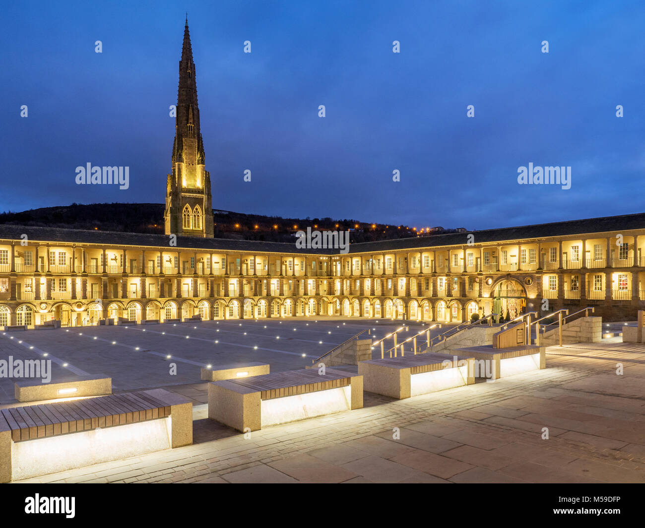 The Piece Hall at dusk Halifax West Yorkshire England - Stock Image