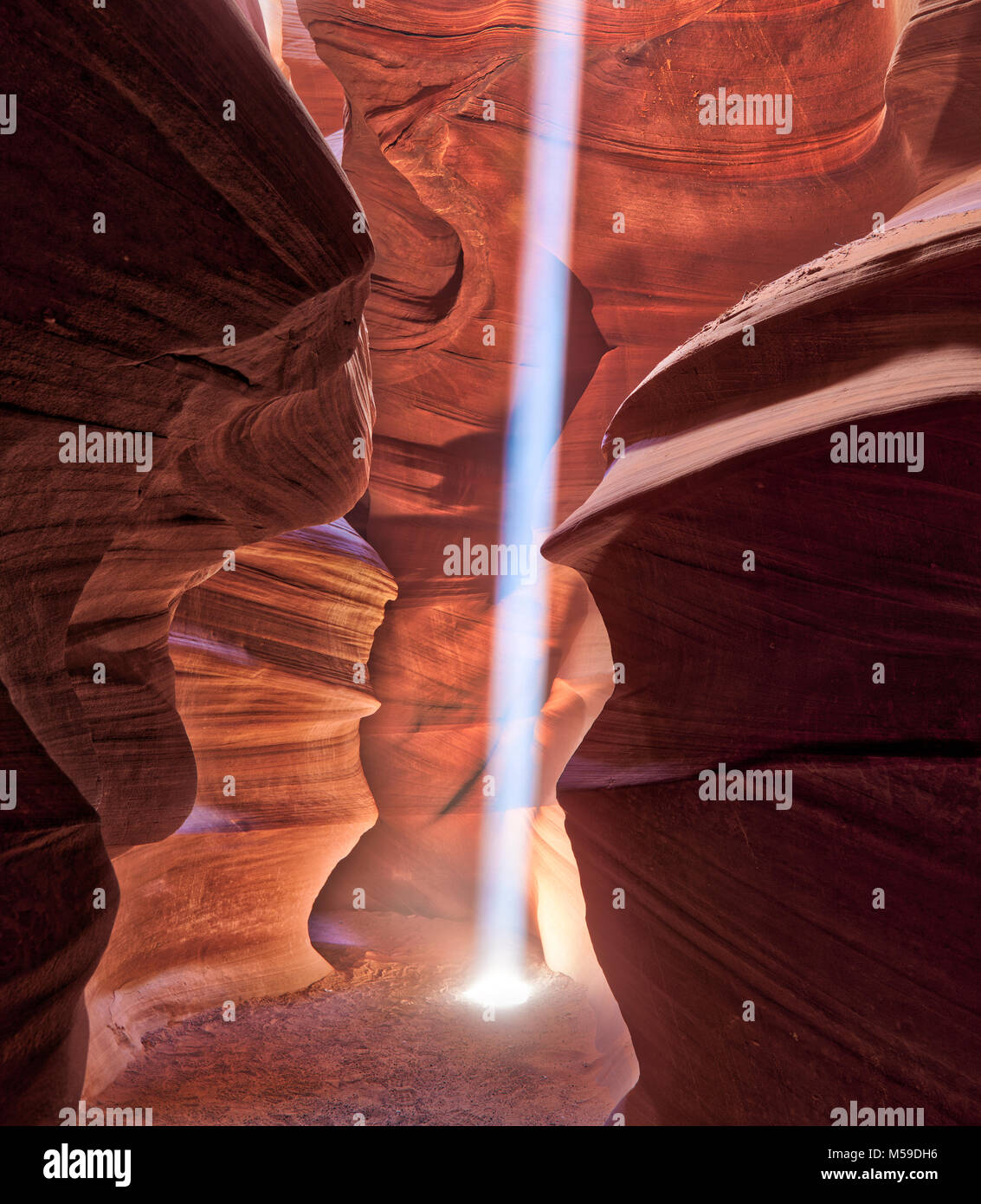 Slot Canyons in the Upper Antelope Canyon on the Navajo Nation in Arizona. Stock Photo