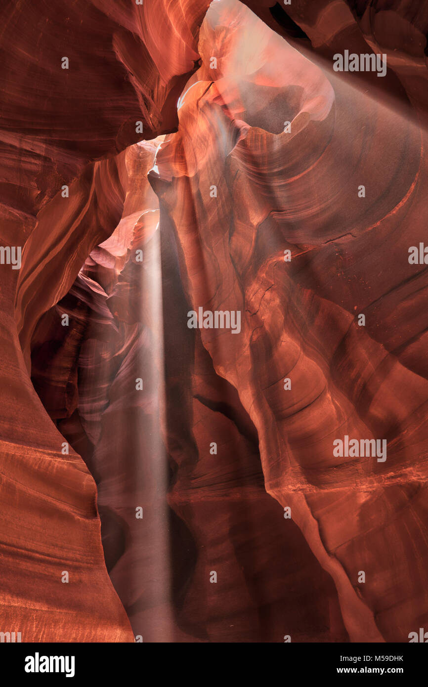 Slot Canyons in the Upper Antelope Canyon on the Navajo Nation in Arizona. - Stock Image