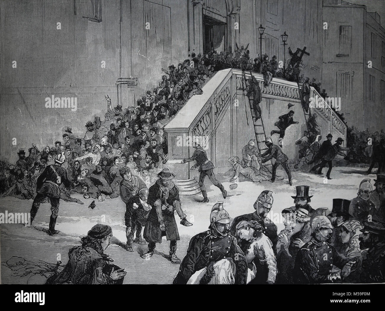 Pogrom of Warsaw. Events, December 25, 1882, Church of the Holy Cross. Origin persecution of the Jews. Poland. - Stock Image