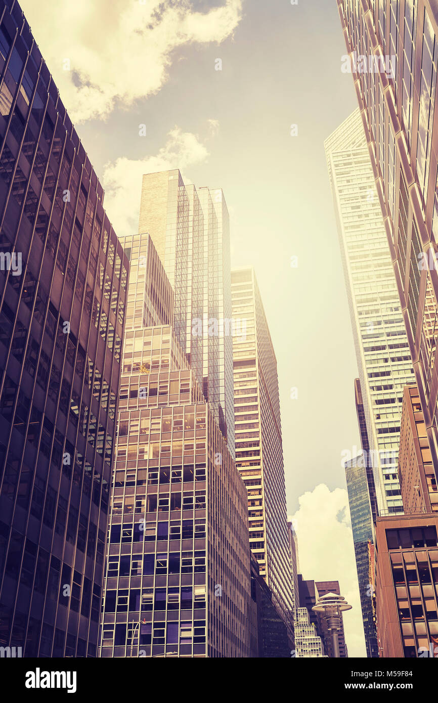 Vintage toned picture of Manhattan skyscrapers, New York City, USA. - Stock Image