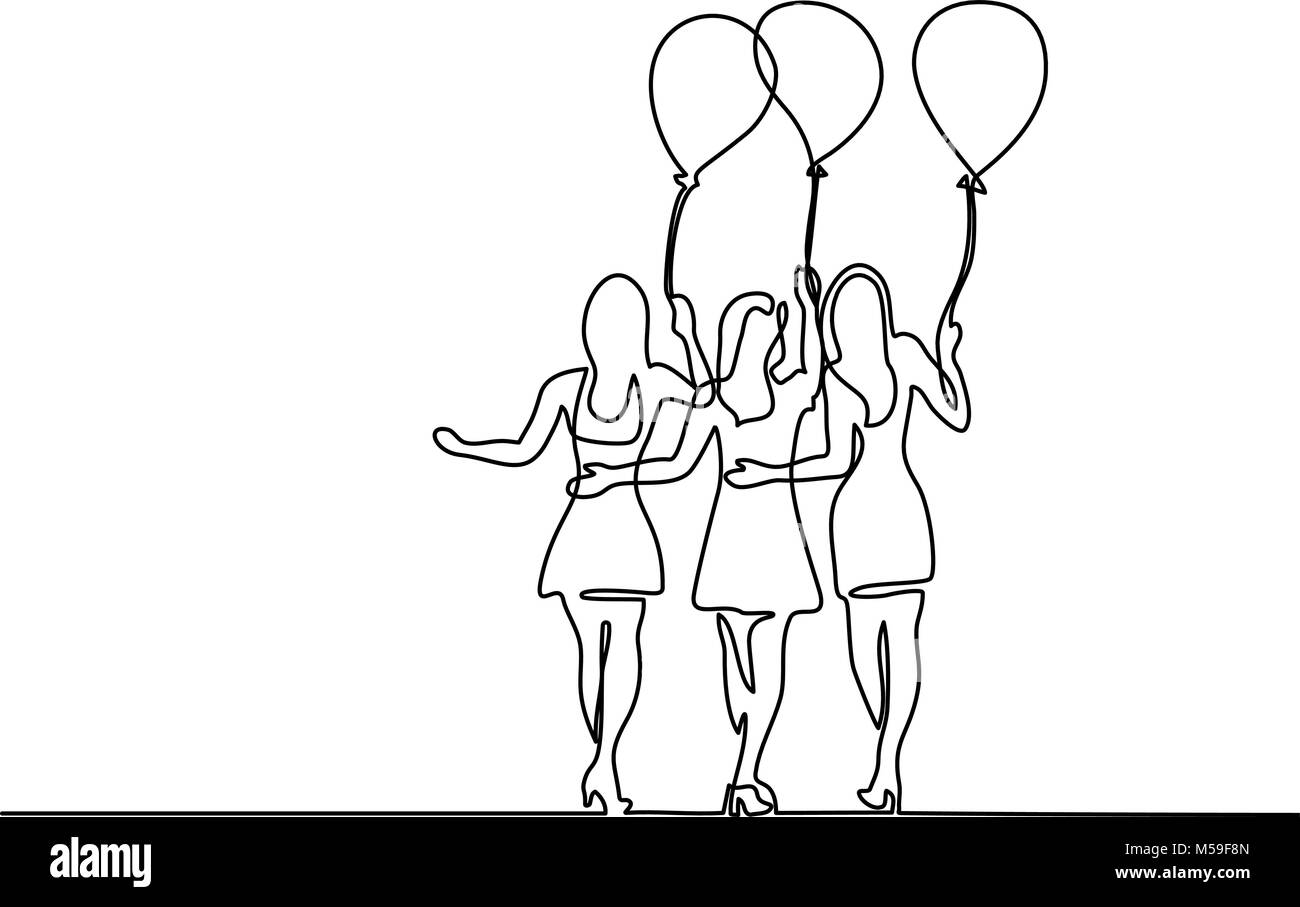 Young women with air balloons - Stock Vector
