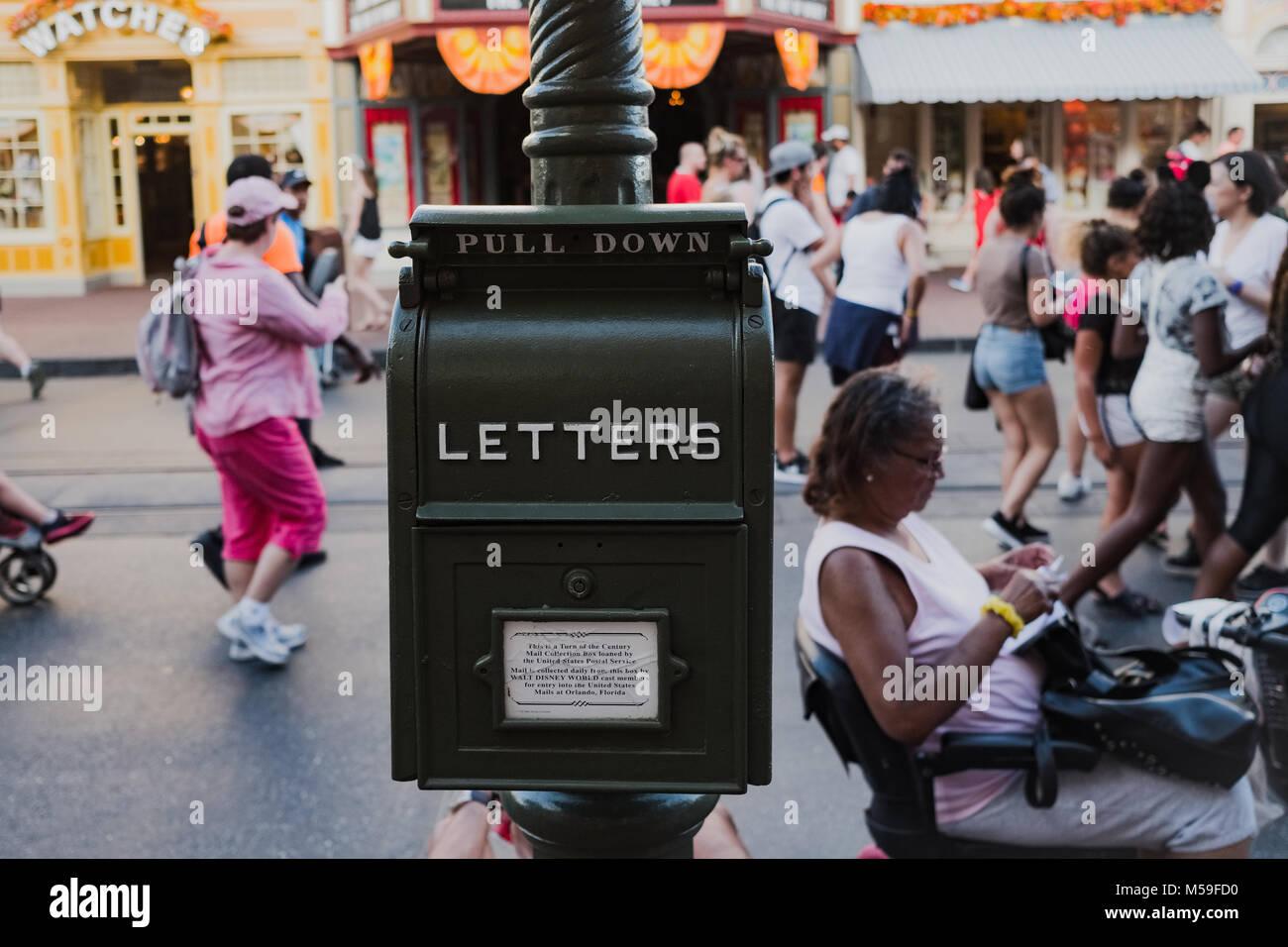 United States postal service box loaned to Disney World, Orlando, Florida, North America - Stock Image