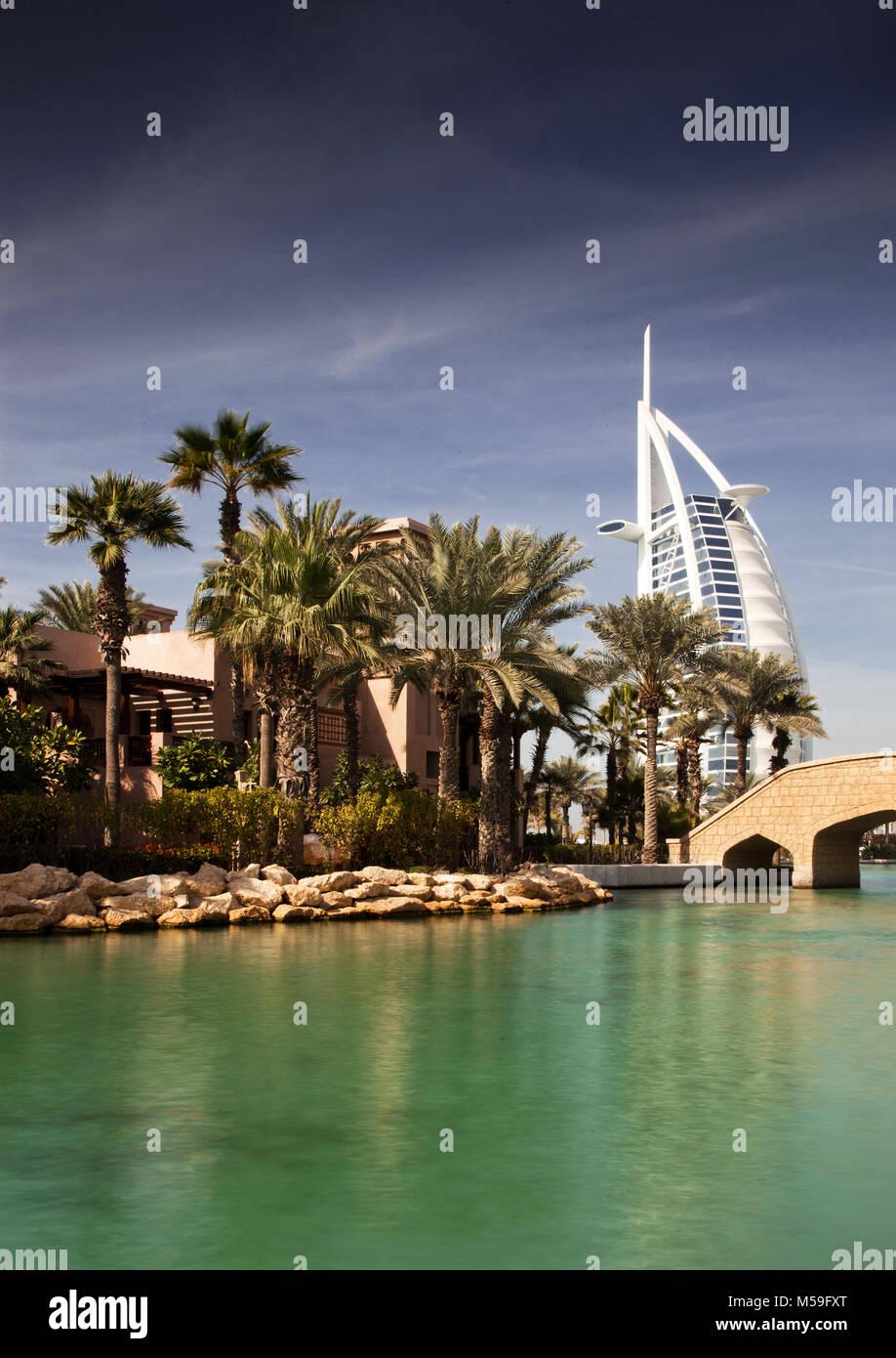 DUBAI, UAE - FEBRUARY, 2018: View on Burj Al Arab, the world only seven stars fotel seen from Madinat Jumeirah. - Stock Image