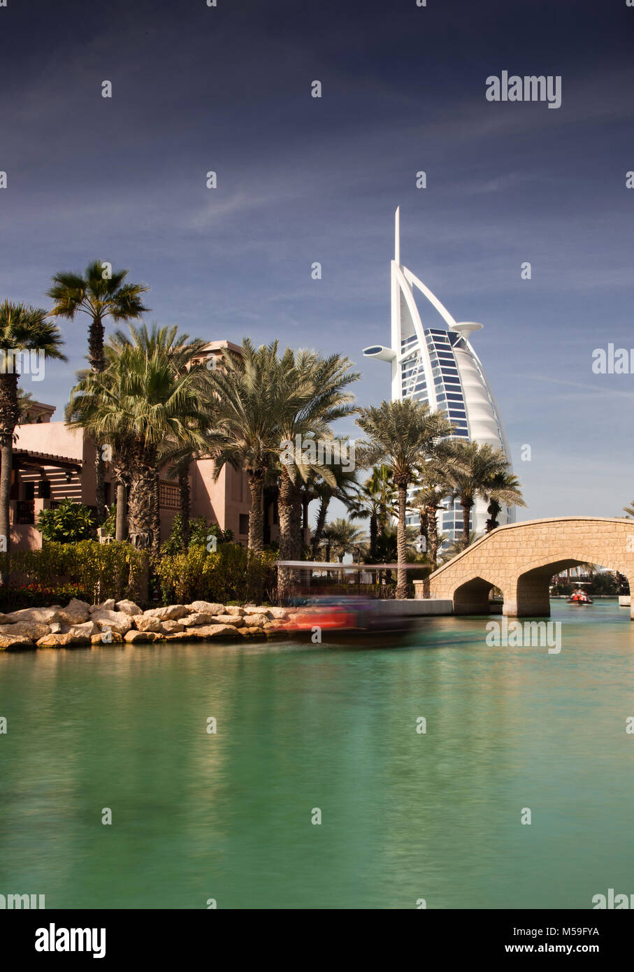 DUBAI, UAE - FEBRUARY, 2018: View on Burj Al Arab, the world only seven stars fotel seen from Madinat Jumeirah. - Stock Image