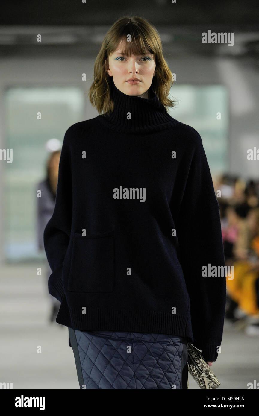 NEW YORK, NY - FEBRUARY 11: A model walks the runway at the