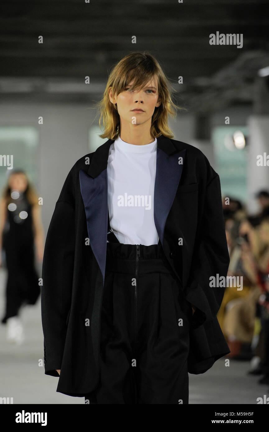 NEW YORK, NY - FEBRUARY 11: Model Irina Kravchenko walks the