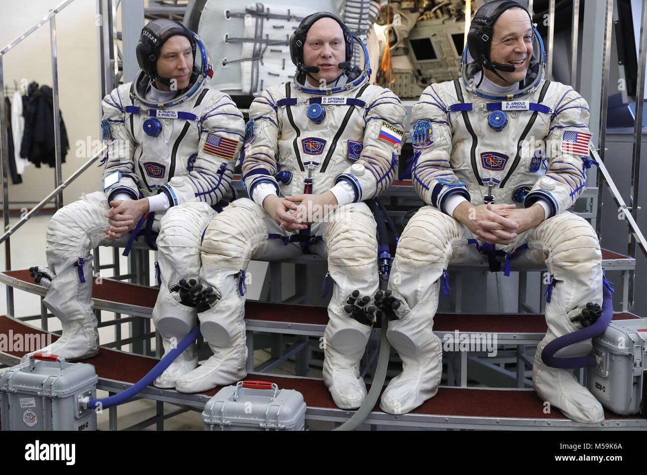 Moscow Region, Roscosmos cosmonaut Oleg Artemyev (C) and NASA astronauts Andrew J. Feustel (L), Richard Arnold (R), - Stock Image
