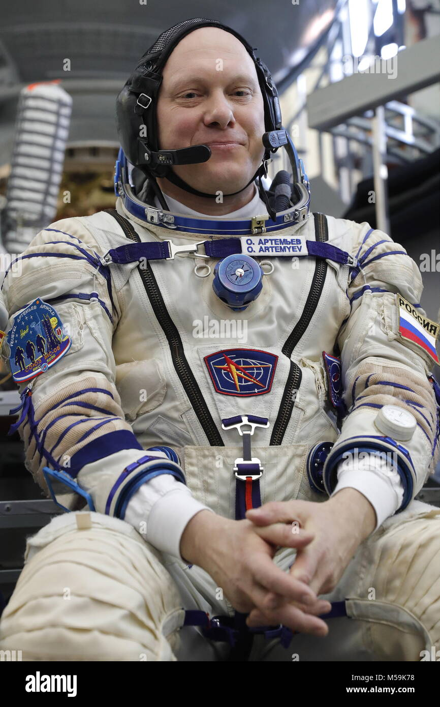 Moscow Region, Russia. 21st Feb, 2018. Roscosmos cosmonaut Oleg Artemyev, member of the ISS Expedition 55/56 main - Stock Image