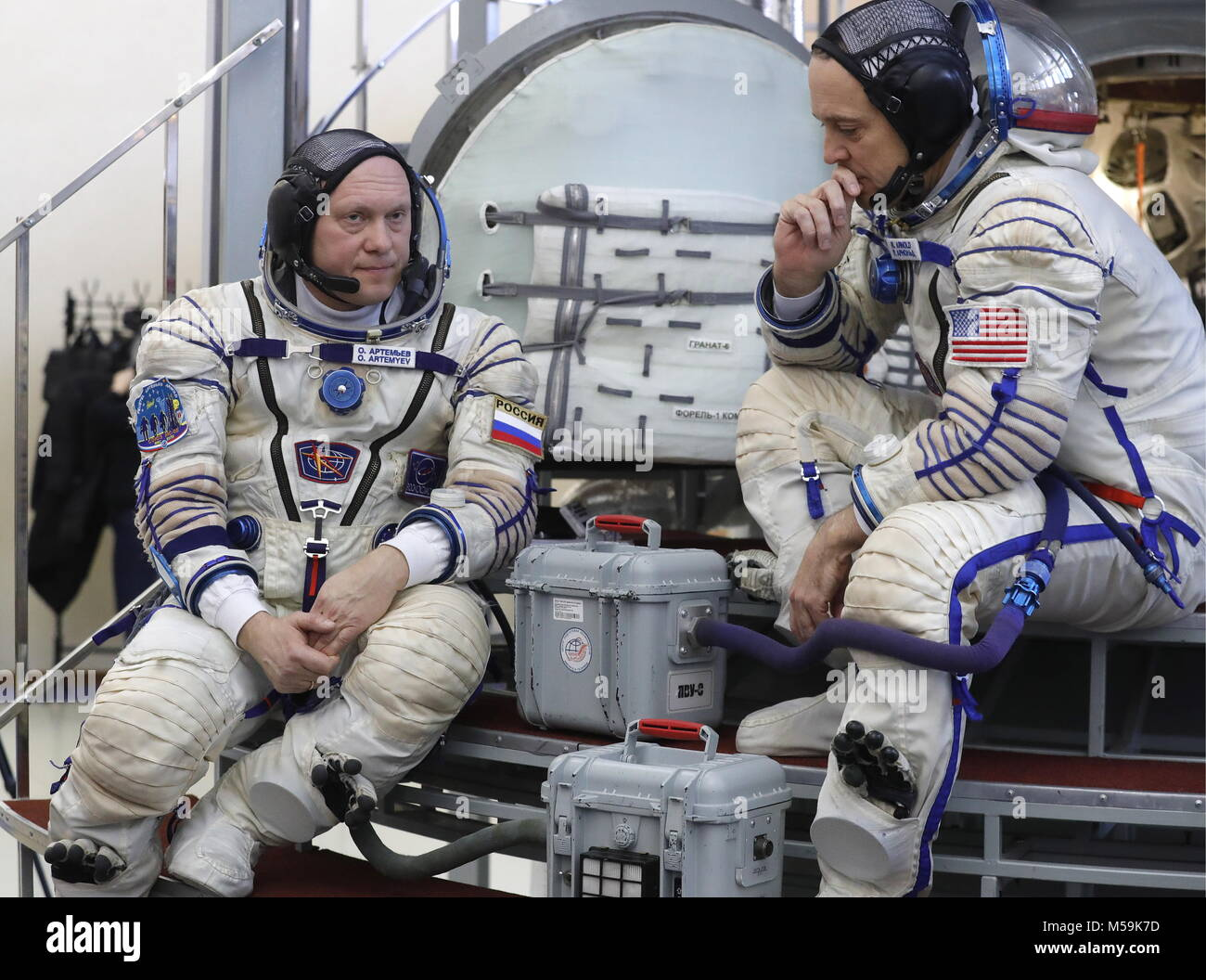 Moscow Region, Roscosmos cosmonaut Oleg Artemyev (L) and NASA astronaut Richard Arnold, members of the ISS Expedition - Stock Image