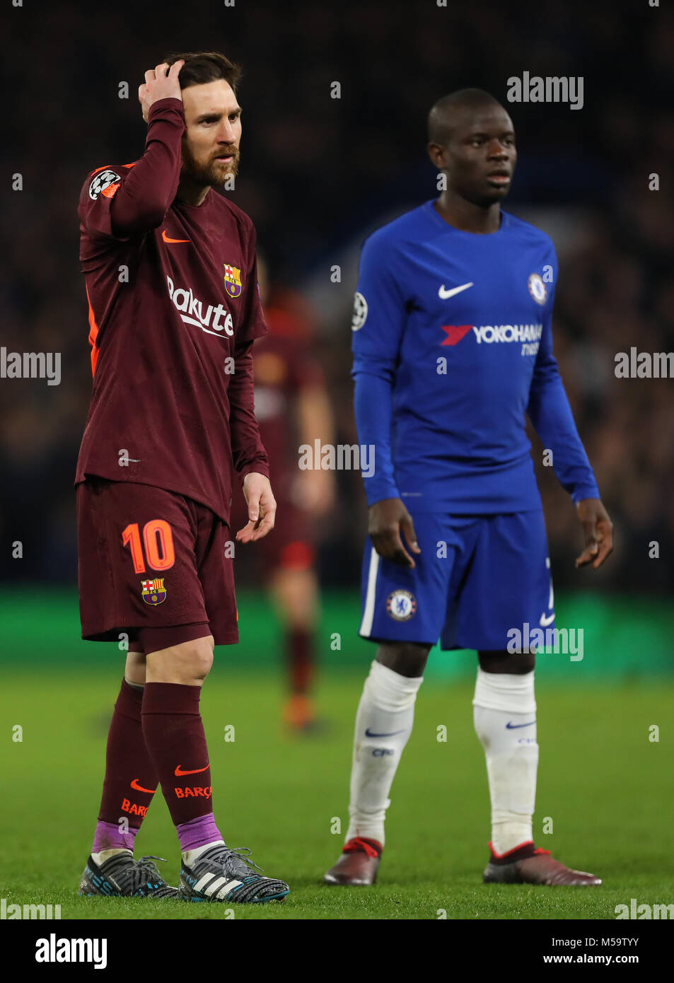 Lionel Messi of Barcelona and Ngolo Kante