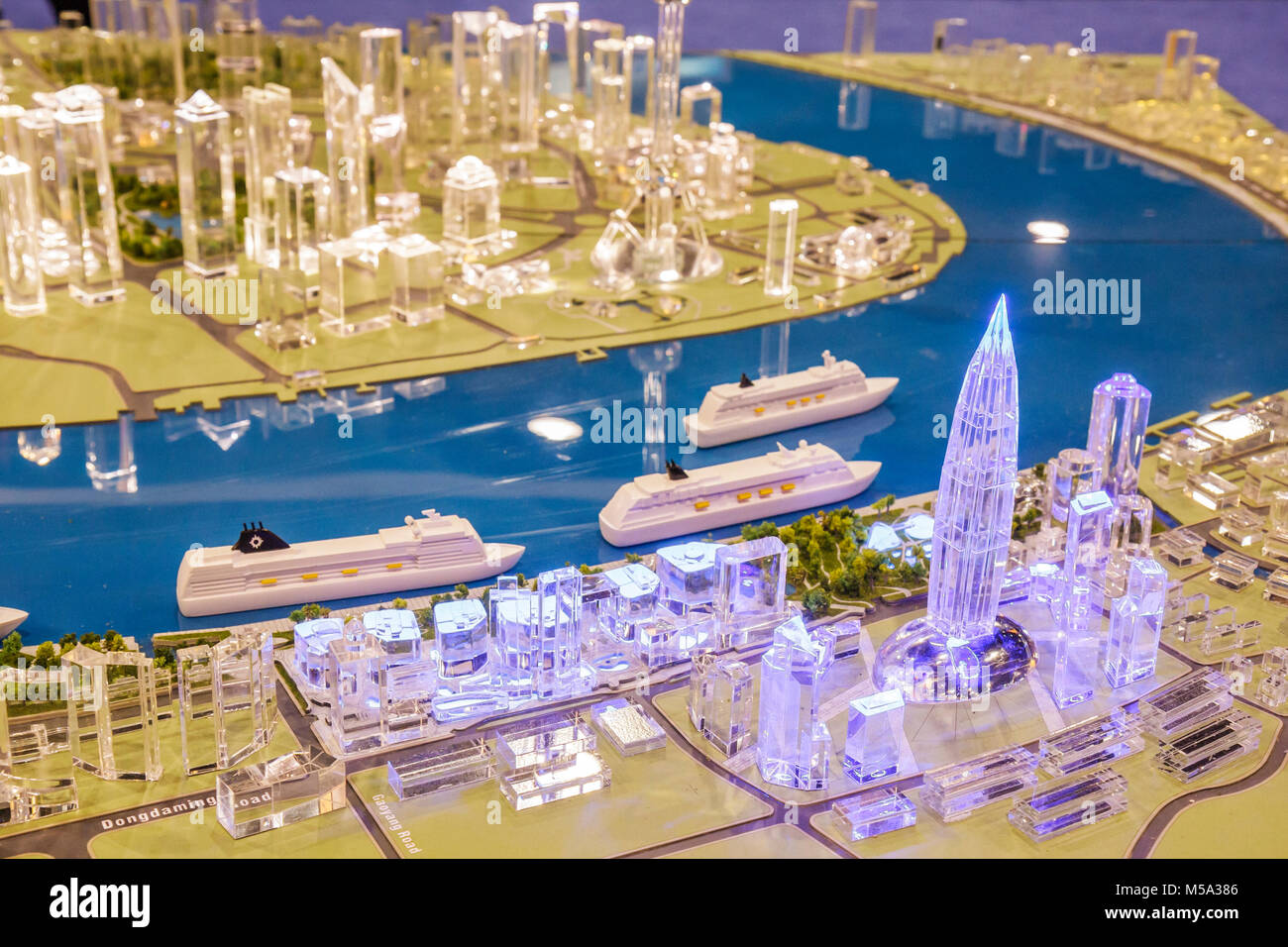 promotion suppliers scale model Shanghai China port buildings plastic Stock Photo