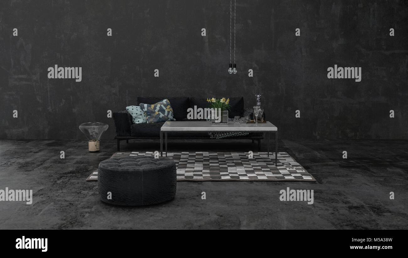 Simple Minimalist Dark Grey Monochrome Living Room Interior