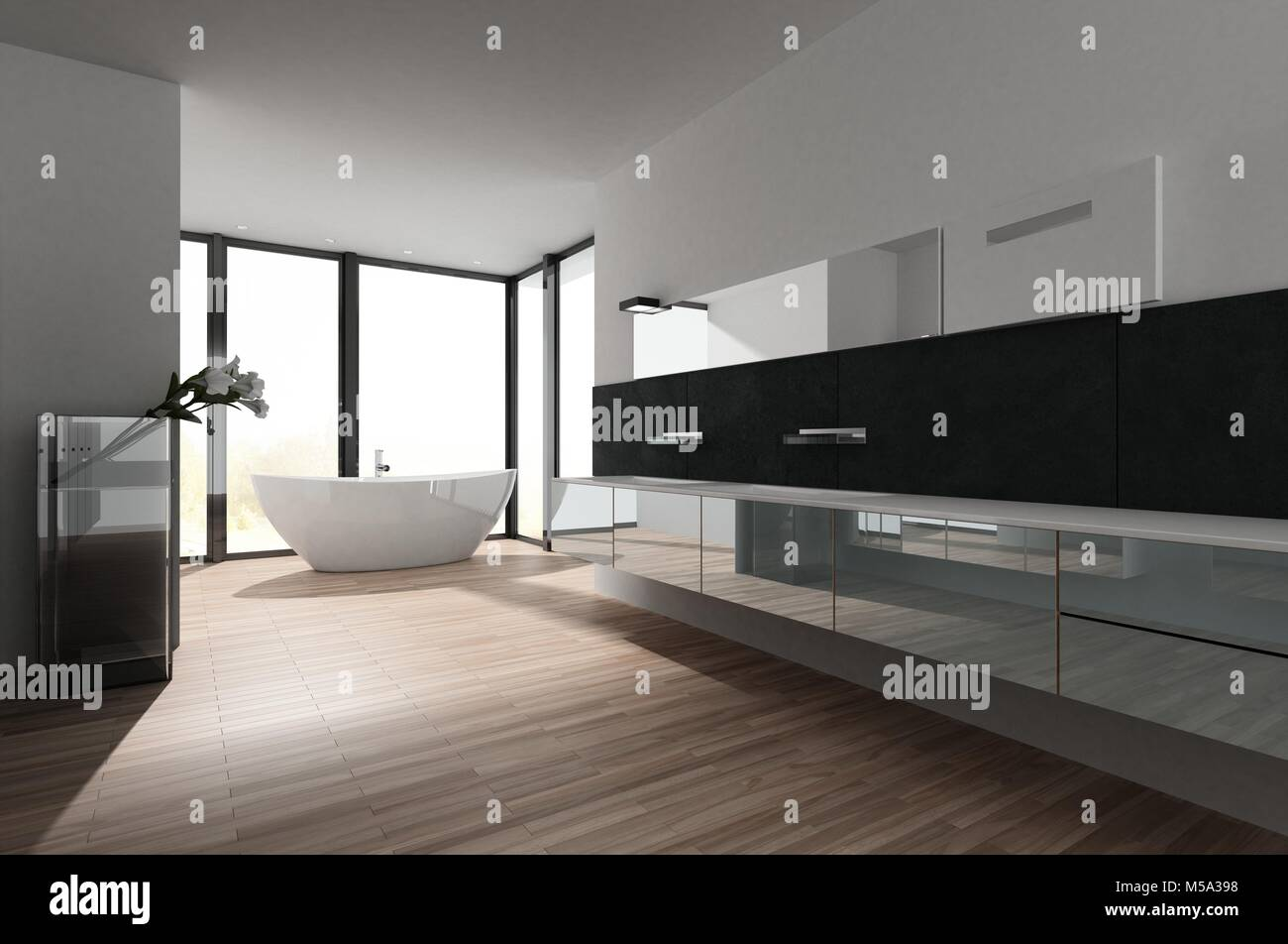 Large spacious bathroom interior with stylish freestanding tub in ...