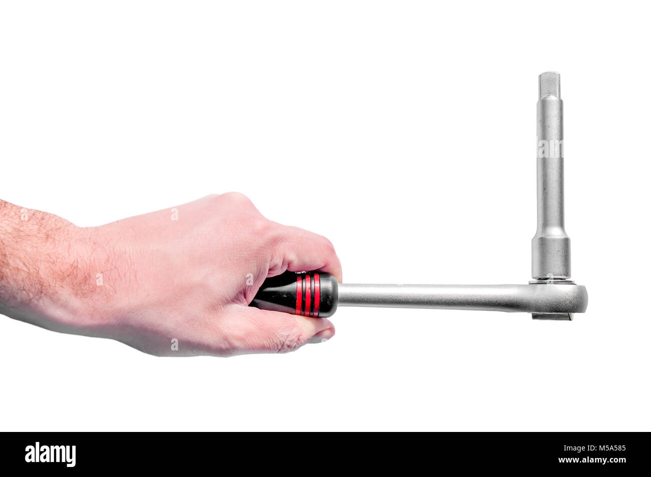 Hand holding automotive mechanic tool for maintenance and repair wernch with replaceable head - Stock Image