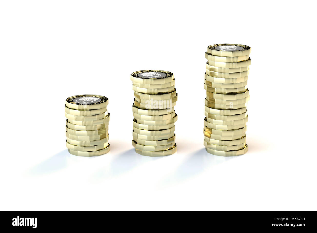 Making money saving money - new 2017 £1 one pound coins sterling rising in value and height - Stock Image