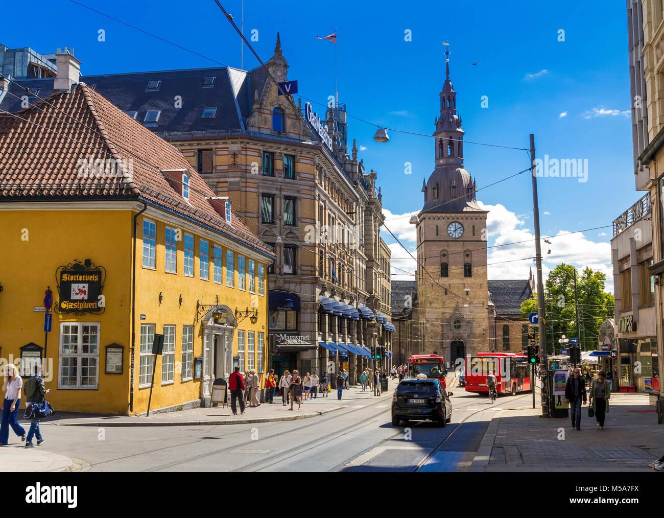 Stortorvet Square in Oslo city, Norway in summer - Stock Image