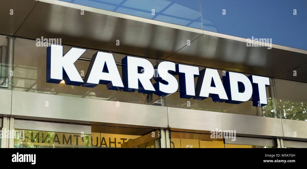 Karstadt department store sign logo, Germany - Stock Image
