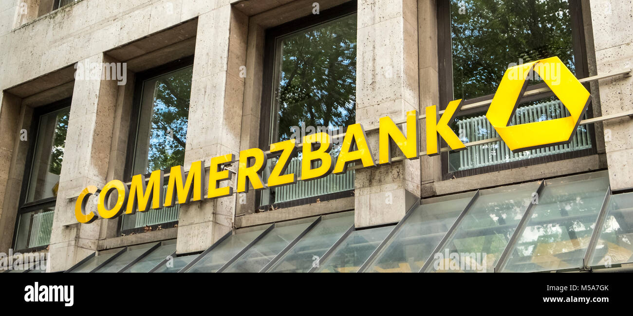 Commerzbank sign logo, Germany - Stock Image